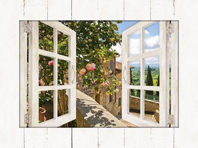 banepetkovic: Fensterblick - Rosen auf einem Balkon in San Gimignano, mit Toskanalandschaft im Hintergrund - Bild mit Modellrahmen 59,9 x 80,9 cm