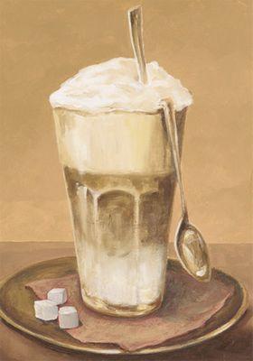 A. S.: Latte Macchiato - Kaffee - Original auf Leinwand 50 x 35 cm