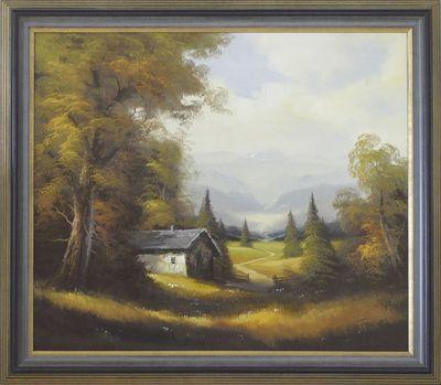 Gustav: Berglandschaft - Original auf Leinwand, gerahmt 71,5 x 81 cm