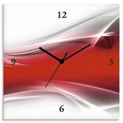 Designus: Kreatives Element Rot für Ihr Art-Design - Wanduhr auf Leinwand