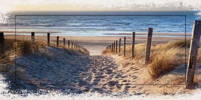 Olha Rohulya: Weg zum Nordseestrand in Gold Sonnenuntergang Sonnenschein, Nordholland, Niederlande - Designerrahmen, Bild mit Motivrahmen - Modellrahmen 51,4 x 101,4 cm