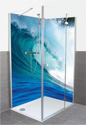 Longjourneys: Blaue Surfwelle - Alu-Duschrückwand