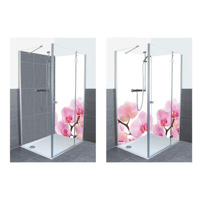 Liliia Rudchenko: Schwarze Steine und pink Orchidee - Alu-Duschrückwand