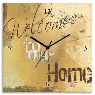 W. L.: Willkommen in unserem Zuhause - Wanduhr auf Leinwand