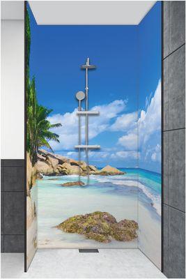 Vibrant Image Studio: Palmen-Ruhe-Ufer - Alu-Duschrückwand