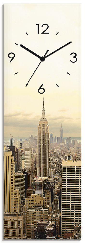 Jule: Skyline Manhattan - New York - Wanduhr auf Glas