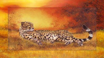 A. Heins: Gepard liegend - Bild mit Modellrahmen 66,4 x 116,4 cm
