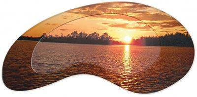 K. Breckheimer: Sonnenuntergang am See - Bild mit Modellrahmen 53,4 x 111,4 cm