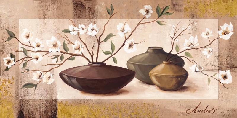 Andres: Gold framed cherry blossoms - Bild mit Modellrahmen 51,4 x 101,4 cm