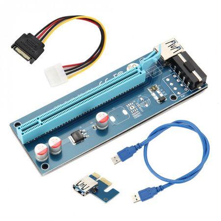 PCIe Riser Card 1X zu 16X USB 3.0 Mining Karte Adapter Board SATA Molex Extender ETH XMR BTC – Bild 2