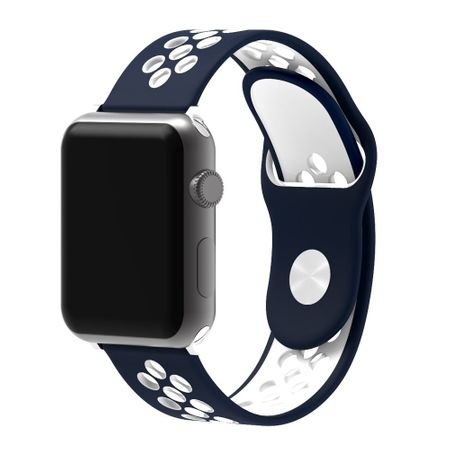 Apple Watch 42mm Series 1 / 2 / 3 S / M Silikon Sport Armband Strap Soft BLAU WEISS – Bild 1