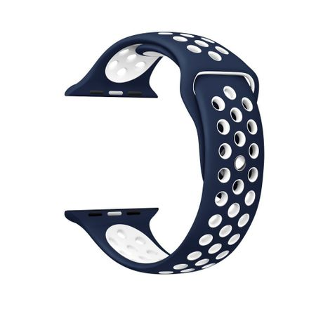 Apple Watch 38mm Series 1 / 2 / 3 M / L Silikon Sport Armband Strap BLAU WEISS – Bild 2