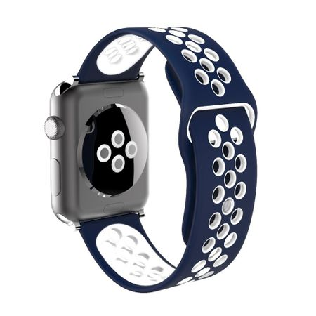 Apple Watch 38mm Series 1 / 2 / 3 M / L Silikon Sport Armband Strap BLAU WEISS – Bild 4