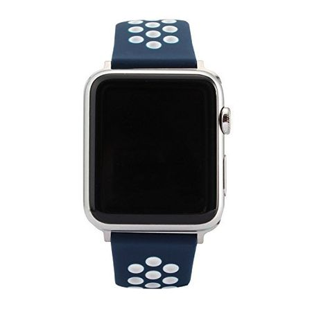 Apple Watch 38mm Series 1 / 2 / 3 M / L Silikon Sport Armband Strap BLAU WEISS – Bild 5