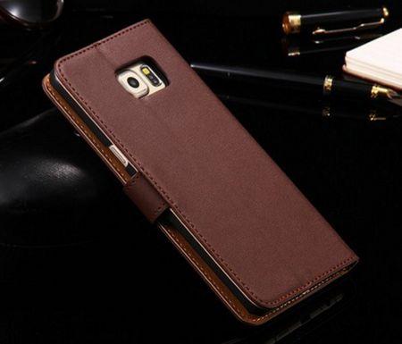 Samsung Galaxy S6 Edge Plus Leder Case Luxus Etui mit Kartenfach BRAUN – Bild 3