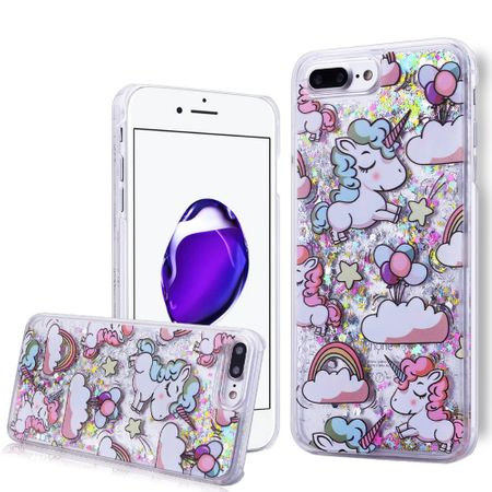iPhone 7 Plus Einhorn Treibsand Hard Case Hülle Cover Liquid Hardcase SILBER – Bild 3