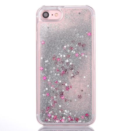 iPhone 7 Plus Treibsand Hard Case Hülle Liquid Star Dust Sternen Hardcase SILBER – Bild 1