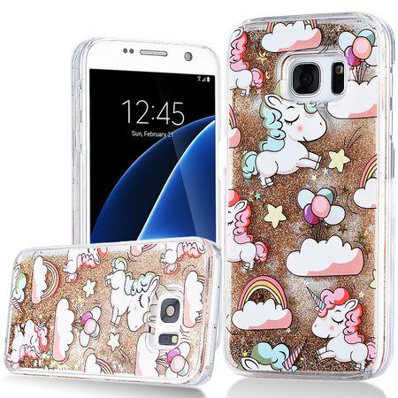 Samsung Galaxy S7 Edge Einhorn Treibsand Hard Case Hülle Cover Liquid Hardcase GOLD – Bild 1