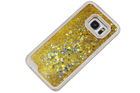 Samsung Galaxy S7 Edge Treibsand Hard Case Hülle Liquid Star Dust Sternen Hardcase GOLD – Bild 2