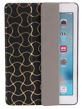 iPad 9.7 2017  Luxus Smart Etui Goldverzierung Tasche Hülle SCHWARZ – Bild 4