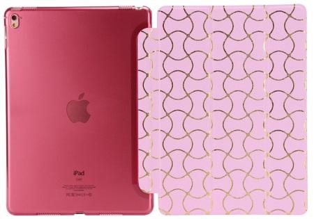 iPad 9.7 2017  Luxus Smart Etui Goldverzierung Tasche Hülle ROSA Pink – Bild 4