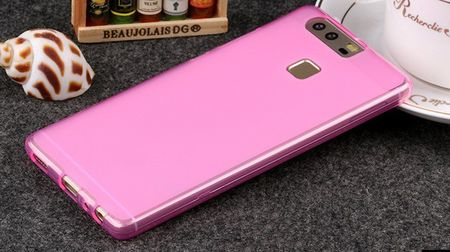 Huawei P9 Gummi TPU Silikon Case FROST CLEAR PINK rosac – Bild 2