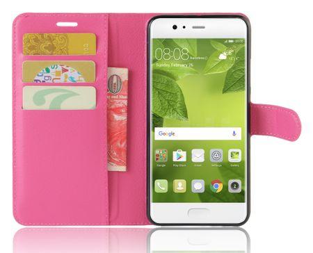 Huawei P10 Lite Flip Etui Leder Case Tasche Hülle mit Kartenfach PINK – Bild 3