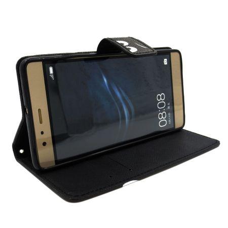 Huawei P10 Lite DON'T TOUCH MY PHONE Leder Etui Flip Hülle Tasche Case SCHWARZ – Bild 3