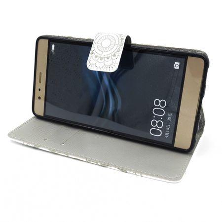 Huawei P10 Lite Mandala Henna Leder Etui Tasche Hülle Case WEISS – Bild 3