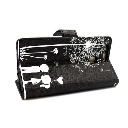 Huawei P10 Lite Pusteblume Junge & Mädchen Leder Etui Flip Hülle Case Tasche SCHWARZ – Bild 2