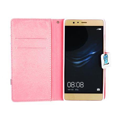 Huawei P10 Lite Leder Etui Eule Tasche Hülle Flip Cover Case BLAU – Bild 5