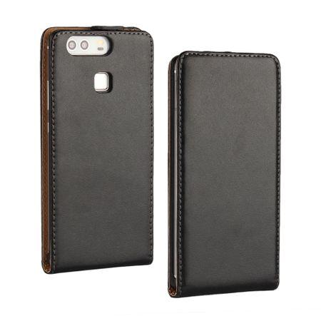 Huawei P10 Lite Leder Flip Case Cover Etui Tasche Vertikal Hülle SCHWARZ – Bild 1
