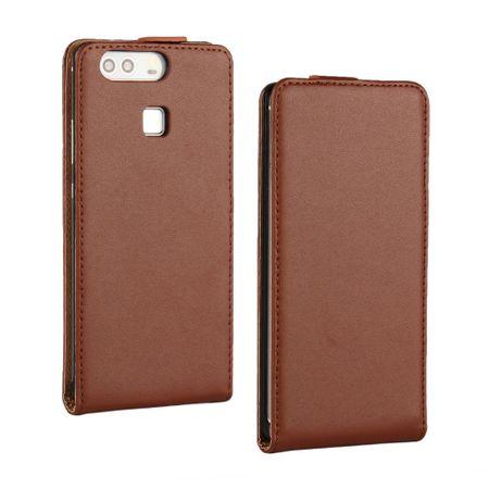 Huawei P10 Lite Leder Flip Case Cover Etui Tasche Vertikal Hülle BRAUN – Bild 1