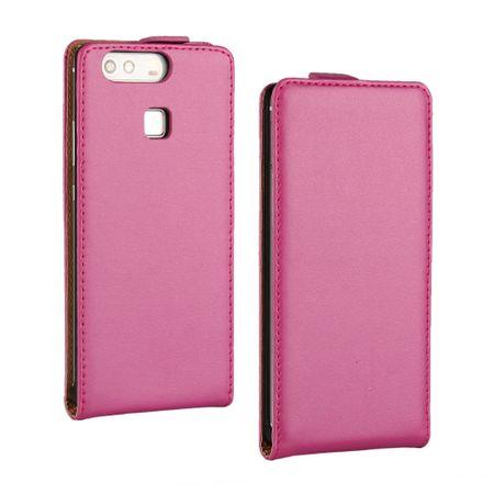 Huawei P10 Lite Leder Flip Case Cover Etui Tasche Vertikal Hülle PINK – Bild 1