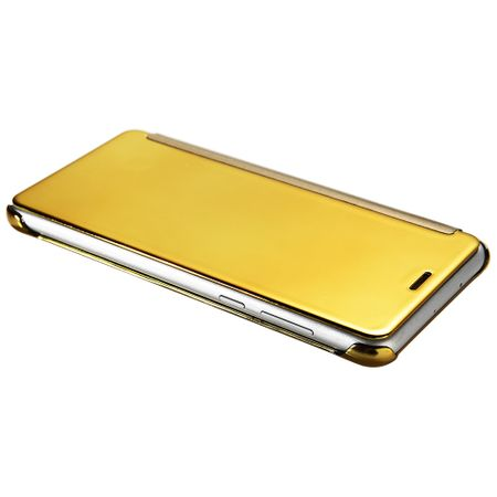 Huawei P10 Lite Clear Window View Case Cover Spiegel Mirror Hülle GOLD – Bild 4