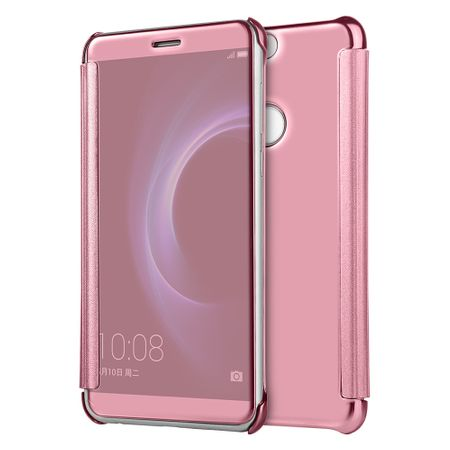 Huawei P10 Lite Clear Window View Case Cover Spiegel Mirror Hülle ROSÉGOLD Pink – Bild 2