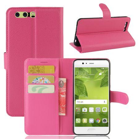 Huawei P8 Lite 2017 Flip Etui Leder Case Tasche Hülle mit Kartenfach PINK – Bild 1
