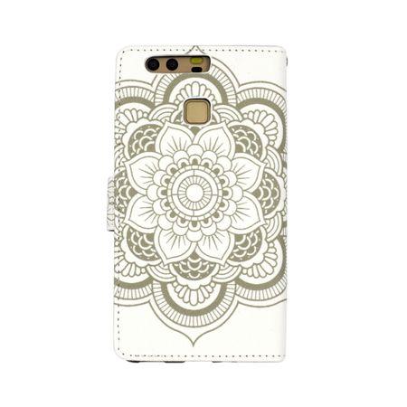 Huawei P8 Lite 2017 Mandala Henna Leder Etui Tasche Hülle Case WEISS – Bild 4