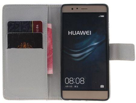 Huawei P8 Lite 2017 Pusteblume Junge & Mädchen Leder Etui Flip Hülle Case Tasche WEISS – Bild 3