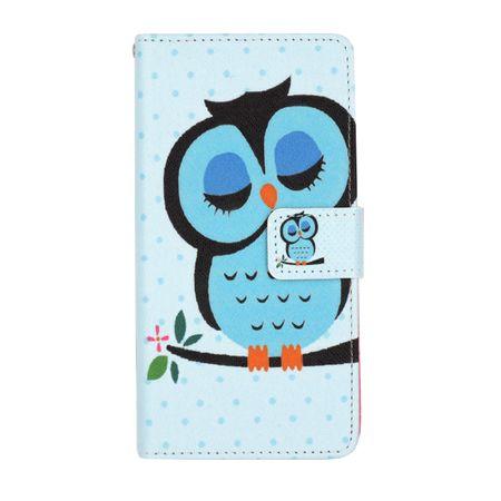 Huawei P8 Lite 2017 Leder Etui Eule Tasche Hülle Flip Cover Case BLAU – Bild 1