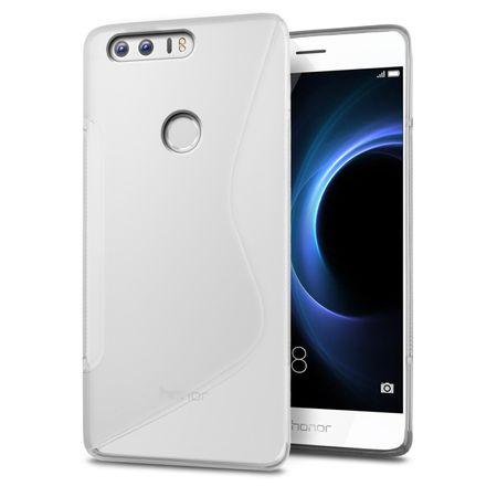 Huawei P8 Lite 2017 S-Line TPU Gummi Silikon Case Welle Hülle TRANSPARENT – Bild 1