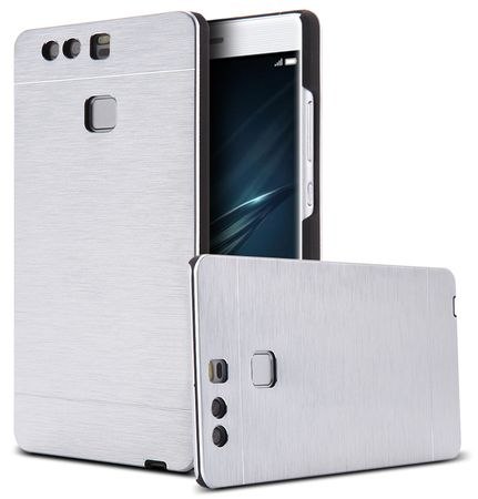 Huawei P8 Lite 2017 Aluminium Metall Brushed Hard Case Cover Hülle SILBER