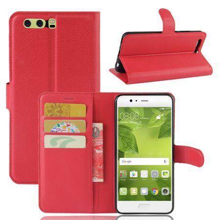 Huawei Honor 9 Flip Etui Leder Case Tasche Hülle mit Kartenfach ROT – Bild 1