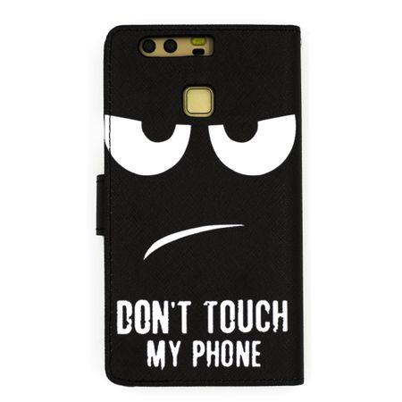 Huawei Honor 9 DON'T TOUCH MY PHONE Leder Etui Flip Hülle Tasche Case SCHWARZ – Bild 4
