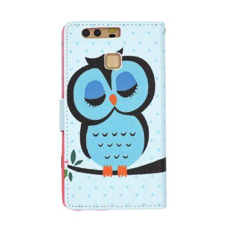Huawei Honor 9 Leder Etui Eule Tasche Hülle Flip Cover Case BLAU – Bild 4