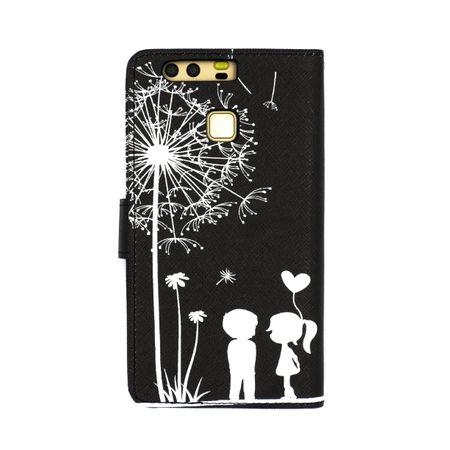 HTC U11 Pusteblume Junge & Mädchen Leder Etui Flip Hülle Case Tasche SCHWARZ – Bild 4