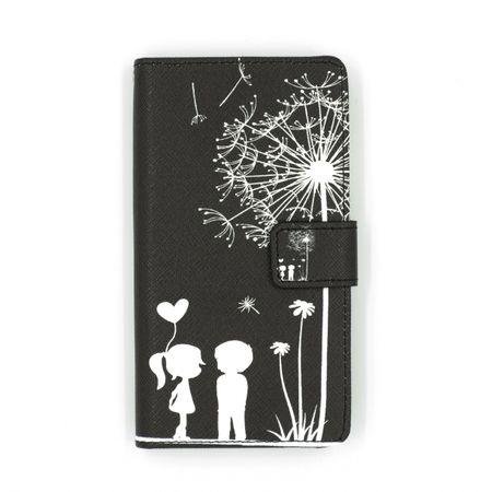 Sony Xperia XA1 Pusteblume Junge & Mädchen Leder Etui Flip Hülle Case Tasche SCHWARZ – Bild 1