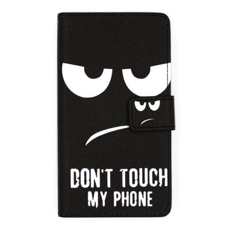 Sony Xperia XZ Premium DON'T TOUCH MY PHONE Leder Etui Flip Hülle Tasche Case SCHWARZ – Bild 1