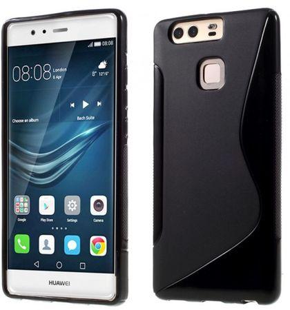 Huawei P9 Plus S-Line Gummi TPU Silikon Case Cover Hülle SCHWARZ – Bild 1