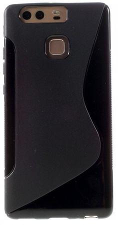 Huawei P9 Plus S-Line Gummi TPU Silikon Case Cover Hülle SCHWARZ – Bild 2